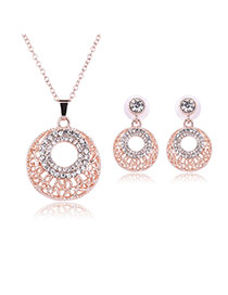 Delicate Rose Gold Hollow Out Round Shape Pendant Decorated Long Chian Jewelry Sets