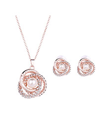 Elegant Rose Gold Pearl Decorated Flower Pendant Long Chain Jewelry Sets