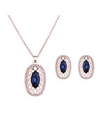 Fashion Blue Oval Shape Diamond Pendant Decorated Long Chain Jewelry Sets