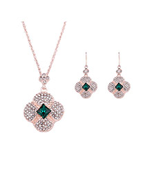 Vintage Green Flower Shape Pendant Decorated Long Chain Jewelry Sets