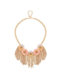 Sweet Gold Color Flower&tassel Pendant Decorated Short Chain Necklace