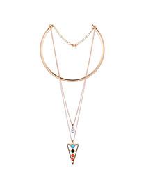 Elegant Multi-color Triangle Pendant Decorated Collar Necklace