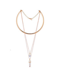 Fashion Gold Color Bullet Shape Pendant Decorated Collar Necklace