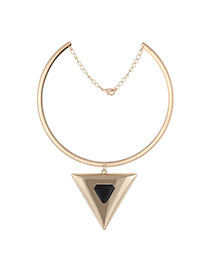 Exaggerated Gold Color Triangle Shape Pendant Decorated Collar Necklace