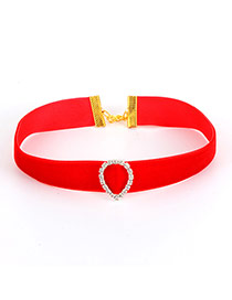 Elegant Red Waterdrop Shape Decorated Simple Collar Necklace