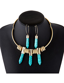 Elegant Green Bullet&round Shape Pendant Decorated Jewelry Sets