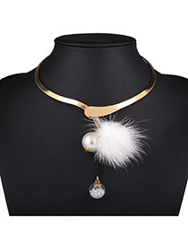 Bohemia White Fuzzy Ball&pearl Pendant Decorated Simple Necklace