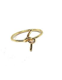 Elegant Gold Color Pure Color Design Knot Shape Simple Ring