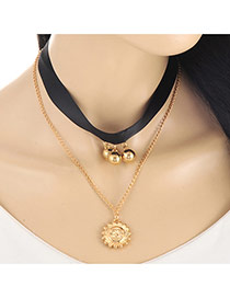 Vintage Gold Color Sun Shape Pendant Decorated Double Layer Necklace