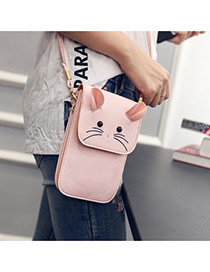 Lovely Pink Mouse Pattern Decorated Square Shape Design Shoulder Bag