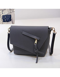 Elegant Gray Tassel Pendant Decorated Pure Color Simple Shoulder Bag