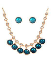 Luxury Blue Round Diamond Pendant Decorated Simple Jewelry Sets