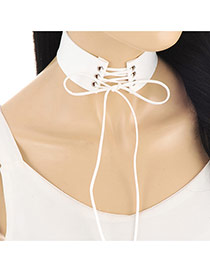 Retro White Long Chain Decortaed Wide Simple Necklace