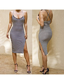 Sexy Black+white Shoulder-straps Decorated Stripe Split Dress