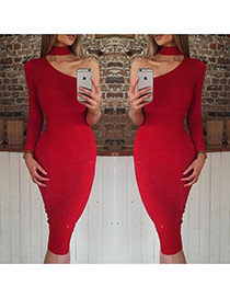 Sexy Red Long Sleeve Hanging Neck Decorated Irregulare Dress