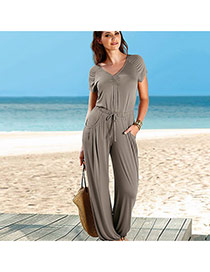 Sexy Gray V Neckline Decorated Short Sleeve Pure Color Jumpsuits