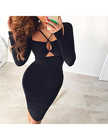 Sexy Black Long Sleeve Decorated Pure Color Hanging Neck Dress