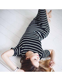 Sexy Black+white Short Sleeve Decorated Stripe Pattern Tight Dress