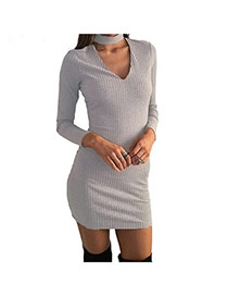 Sexy Gray Heart Shape Neckline Decorated Long Sleeve Pure Color Dress
