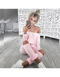Sexy Pink Off-the-shoulder Decorated Pure Color Hole Jumpsuits
