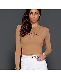 Sexy Coffee Cross Bandage Decorated Long Sleeve Pure Color Tops