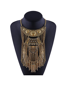 Exaggerate Gold Color Metal Leaf &chain Tassel Decorated Short Chain Necklace