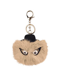 Lovely Coffee Eyes Decorated Fuzzy Ball Design Simple Key Ring