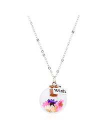 Lovely Multi-color Flower &square Shape Pendant Decorated Simple Long Chain Necklace