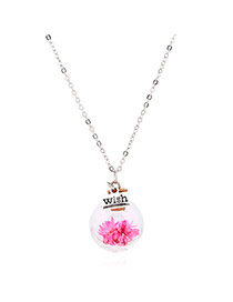 Lovely Pink Flower &square Shape Pendant Decorated Simple Long Chain Necklace