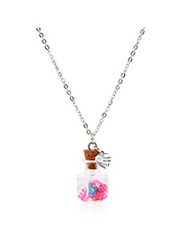Lovely Plum-red Flower&heart Shape Pendnat Decorated Simple Long Chain Necklace