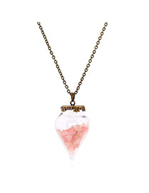Lovely Champagne Small Stone Pendant Decorated Simple Long Chian Necklace