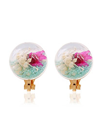 Sweet Green Flower &round Shape Decorated Simple Earrings