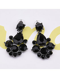 Delicate Black Round&oval Diamond Shape Decorated Simple Earrings