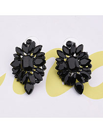 Delicate Black Geometric Shape Diamond Decorated Pure Color Design Earrings