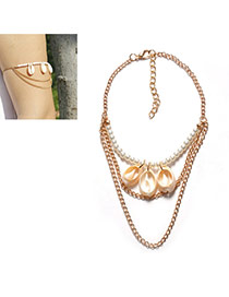 Bohemia Gold Color Shells &pearls Decorated Tassel Simple Armlet