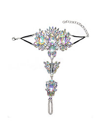 Fashion Silver Color Geometric Shape Diamond Decorated Tassel Anklet