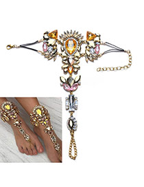 Exaggerate Dold Color &multi-color Geometric Shape Gemstone Decorated Tassel Anklet