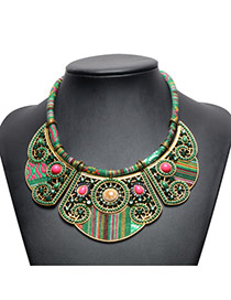 Vintage Green Beads Decorated Irregular Shape Hand-woven Necklace