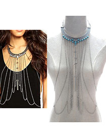 Exaggerated Blue Long Tassel Decorated Symmetric Simple Body Chain