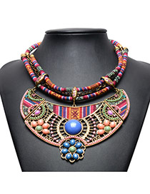 Vintage Blue Beads Decorated Doubel Layer Hand-woven Necklace
