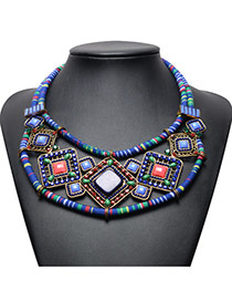 Vintage Dark Blue Square Shape Diamond Decorated Double Layer Hand-woven Necklace