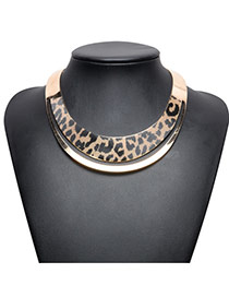 Fashion Gold Color Leopard Print Pattern Decorated Short Chain Collar Necklace