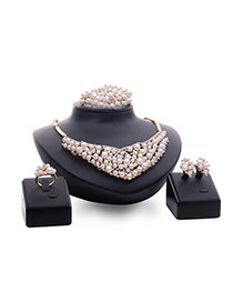 Fashion Gold Color+white Pearsl Decorated Irregular Shape Simple Jewelry Sets