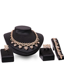 Fashion Rose Gold Hearts Pendant Decorated Hollowout Jewelry Sets