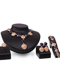 Fashion Gold Color+blue Round Shape Diamond Pendant Decorared Simple Jewelry Sets