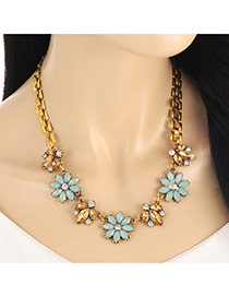 Fashion Gold Color Diamond&flower Decorated Short Chian Necklace
