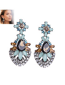 Fashion Multi-color Water Drop Shape Diamond Decorated Hollow Out Earrings
