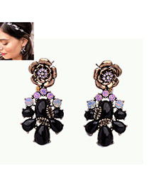 Fashion Black Water Drop Shape Diamond Decorated Flower Shape Earrings