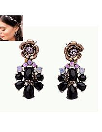 Fashion Black Water Drop Shape Diamond Decorated Flower Shape Earrings