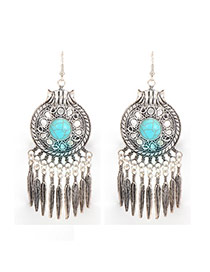 Fashion Silver Color Feather Pendant Decorated Hollow Out Tassel Earrings